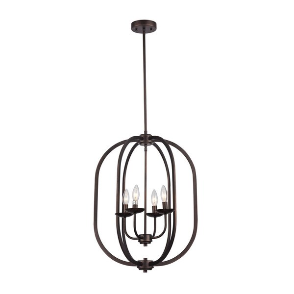 Chloe Industrial 4-light Oil Rubbed Bronze Pendant