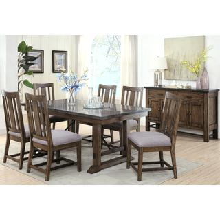 Architectural Industrial Rustic Design Buffet Dining Set with Laminated Natural Bluestone Top