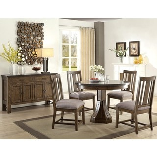 Architectural Industrial Rustic Buffet Round Design Dining Set with Laminated Bluestone Top