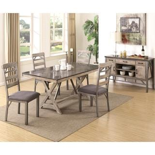 Craftsman Architectural Industrial Designed Buffet Dining Set with Natural Bluestone Laminated Top