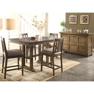 Architectural Industrial Rustic Design Counter Height Bar Server Dining Set with Laminated Natural Bluestone Top