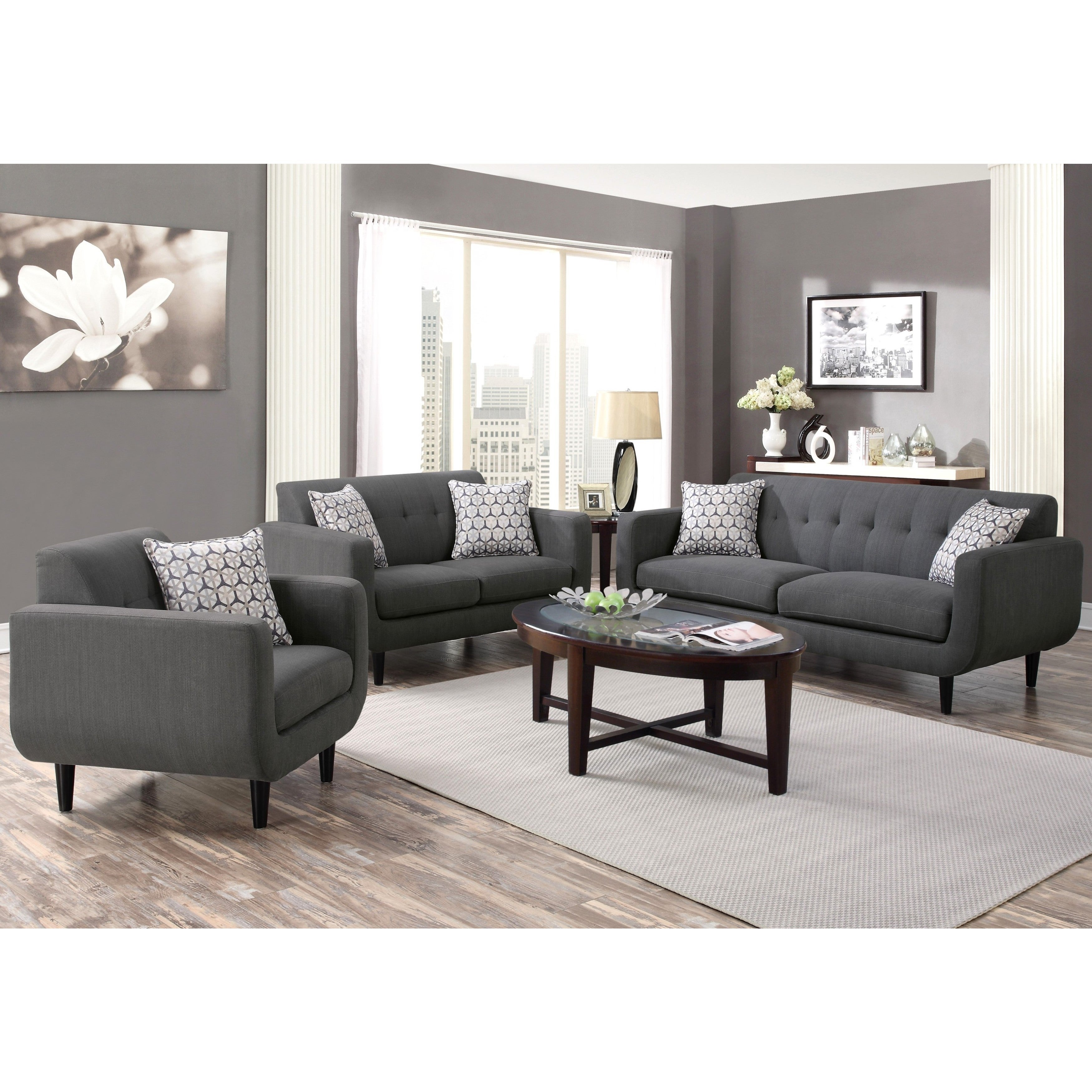 Mid Century Modern Design Grey Living Room Collection