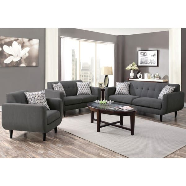 Shop Mid Century Modern Design Grey Living Room Collection Overstock 12341744
