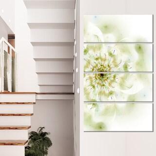 Full Bloom Fractal Flower in White - Large Flower Canvas Wall Art