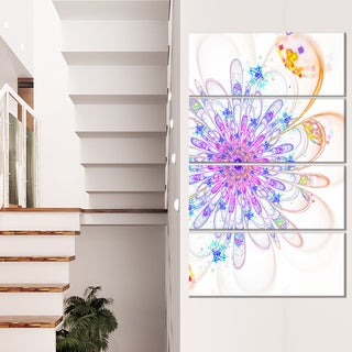 Blue Fractal Flower with Abstract Petals - Floral Canvas Artwork Print