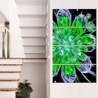 Shiny Green Purple Fractal Flower on Black - Floral Canvas Artwork Print