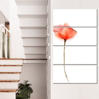 Watercolor Large Red Poppy Flower - Large Flower Canvas Wall Art