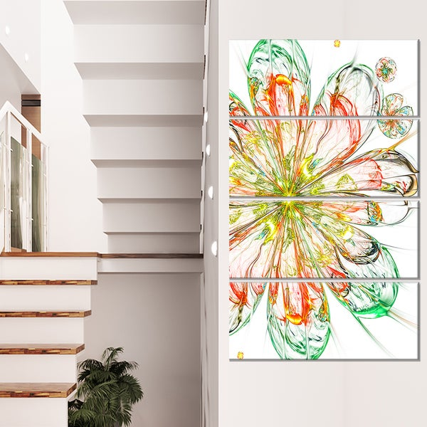 Perfect Shiny Fractal Flower in Red Green - Floral Canvas Artwork Print