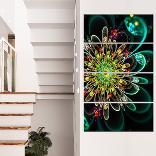 Perfect Shiny Fractal Flower in Green - Floral Canvas Artwork Print