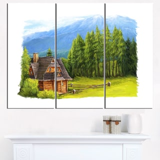 Small Wooden Home in Mountains - Landscape Wall Art Canvas Print