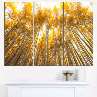 Autumn Bamboo Grove in Yellow - Oversized Forest Canvas Artwork