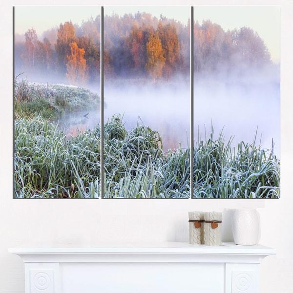 Foggy Autumn Dawn Panorama - Landscape Print Wall Artwork - White