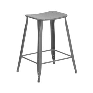 Offex 24'' High Distressed Metal Indoor Outdoor Counter Height Stool