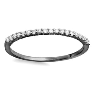 Elora Black Rhodium Plated 10k White Gold 1/6ct TDW Round Diamond Anniversary Wedding Band Stackable Ring