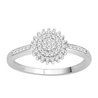 Trillion Designs Sterling Silver 1/4ct TDW Diamond Flower Cluster Engagement Ring