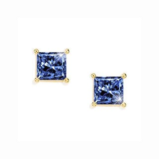 Trillion Designs 10k Yellow Gold Blue Princess Cubic Zirconia Stud Earrings