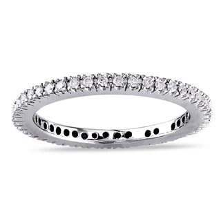 Miadora 14k White Gold 1/3ct TDW Diamond Eternity Ring