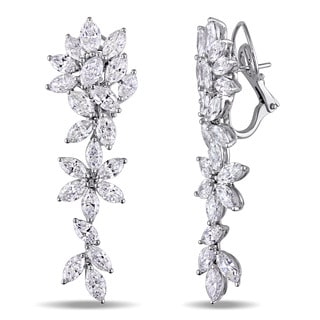 Miadora Signature Collection 18k white Gold 11-1/6ct TDW Marquise Diamond Leverback Cluster Earrings (G-H, SI1-SI2)