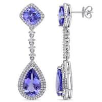 Miadora Signature Collection 14k White Gold Pear-cut Tanzanite and 1 1/4ct TDW Diamond Teardrop Earrings (G-H, SI1-SI2)