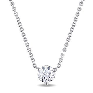 Miadora Signature Collection 14k White Gold 1/2ct TDW Certified Diamond Solitaire Necklace (E, VS2)(GIA)