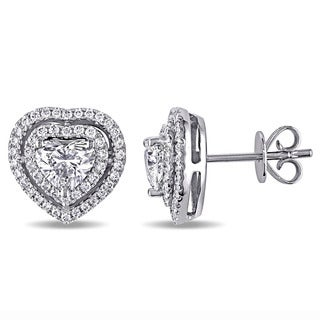 Miadora Signature Collection 14k White Gold 1 1/2ct TDW Center Heart Diamond and Double Halo Stud Earrings (G-H, SI1-SI2)