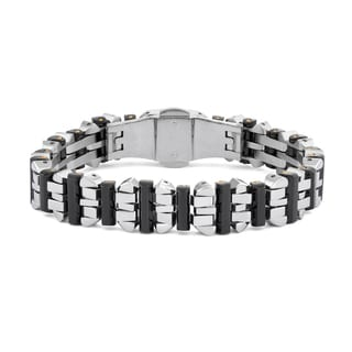Black and Blue Jewelry Black/Silver Stainless Steel Bracelet