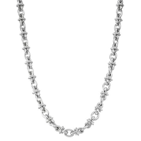 Black and Blue Jewelry Stainless Steel 24-inch Chain - Silver