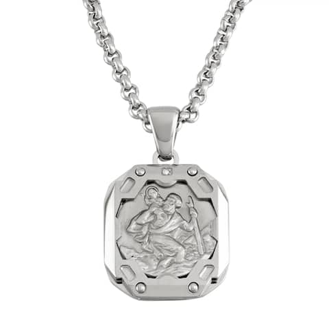 Stainless Steel St. Christopher Necklace - Silver
