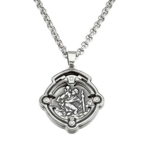 Stainless Steel Religious Pendant Cross Necklace - Silver