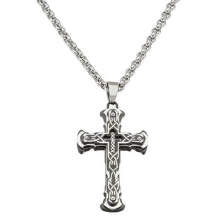 Black and Blue Jewelry Black Stainless Steel Cross Necklace