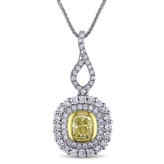 Miadora Signature Collection 2-Tone 14k Gold with 1 3/8ct TDW Natural Yellow and White Diamond Halo Necklace (G-H, SI1-SI2)