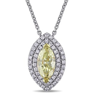 Miadora Signature Collection 14k White Gold 1 1/10ct TDW Natural Yellow and White Marquise Diamond Necklace (G-H, SI1-SI2)