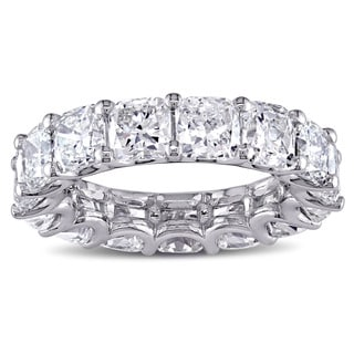 Miadora Signature Collection 18k White Gold 8 1/5ct TDW Certified Cushion-cut Diamond Eternity Ring (G-H, SI1-SI2) (IGI)