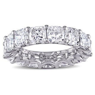 Miadora Signature Collection 18k White Gold 8 1/5ct TDW Certified Cushion-cut Diamond Eternity Ring