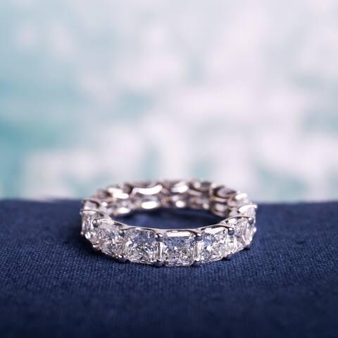 Miadora 18k White Gold 8 1/3ct TDW Certified Radiant-cut Diamond Eternity Ring