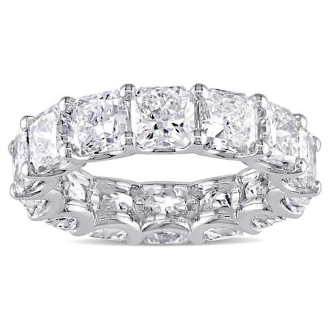 Miadora Signature Collection 18k White Gold 7 1/2ct TDW Certified Radiant-cut Diamond Eternity Ring