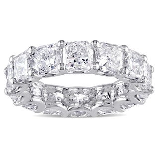 Miadora Signature Collection 18k White Gold 7 1/2ct TDW Certified Radiant-cut Diamond Eternity Ring (G-H, SI1-SI2) (IGI)