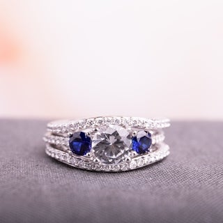 Miadora Signature Collection 10k White Gold Created White and Blue Sapphire and 1/2ct TDW Diamond Bridal Ring Set (G-H, I2-I3)
