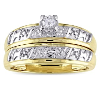 Miadora 10k Yellow Gold Diamond Accent 2-Piece Bridal Ring Set (G-H, I2-I3)