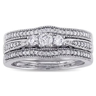 Miadora 10k White Gold 2/5ct TDW Diamond Vintage 3-Stone Bridal Ring Set