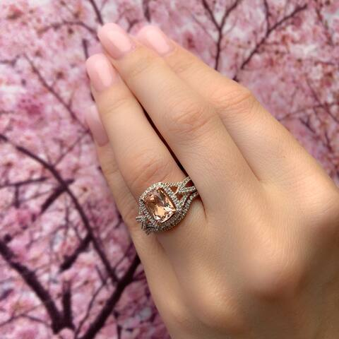 Halo Crossover Morganite 1/4ct TDW Diamond 10k Rose Gold Bridal Set by Miadora