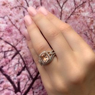 Link to Halo Crossover Morganite 1/4ct TDW Diamond 10k Rose Gold Bridal Set by Miadora Similar Items in Rings