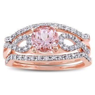 Miadora Signature Collection 10k Rose Gold Morganite and 1/5ct TDW Diamond Infinity Bridal Ring Set