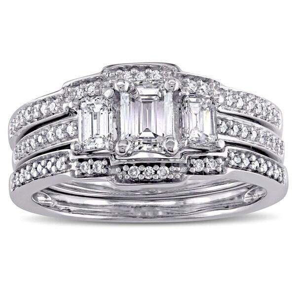 Miadora Signature Collection 14k White Gold 1 1/10ct TDW Emerald-Cut Diamond 3-Stone Bridal Ring Set (G-H, I1-I2)