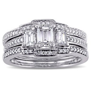 Miadora Signature Collection 14k White Gold 1 1/10ct TDW Emerald-Cut Diamond 3-Stone Bridal Ring Set (G-H, I1-I2)