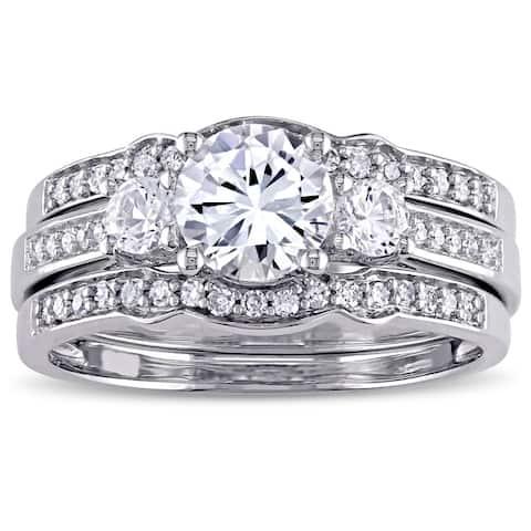 Miadora Signature Collection 10k White Gold Created White Sapphire and 1/4ct TDW Diamond Bridal Set