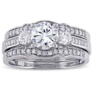Miadora Signature Collection 10k White Gold Created White Sapphire and 1/4ct TDW Diamond 3-Stone Bridal Ring Set (G-H, I2-I3)