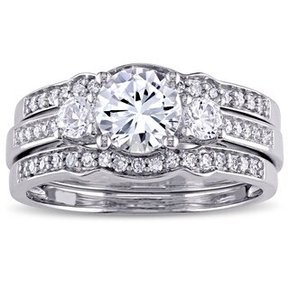 Miadora Signature Collection 10k White Gold Created White Sapphire and 1/4ct TDW Diamond 3-Stone Bri