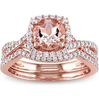 Link to Miadora Signature Collection 14k Rose Gold Morganite 3/4ct TDW Diamond Halo Bridal Ring Set Similar Items in Rings