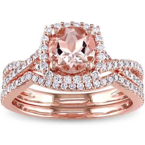 Miadora Signature Collection 14k Rose Gold Morganite 3/4ct TDW Diamond Halo Bridal Ring Set